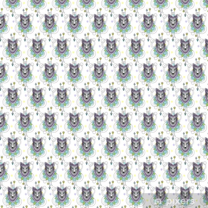 Carta da parati in vinile su misura Modello senza cuciture dell'acquerello astratto del lupo - Animali