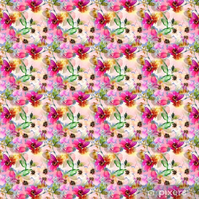 Vinyl behang, op maat gemaakt Naadloze zomer patroon met aquarel bloemen handgemaakte. - Grafische Bronnen
