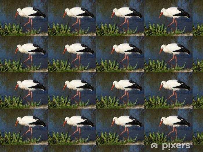 Papier peint vinyle sur mesure Storch I - Oiseaux