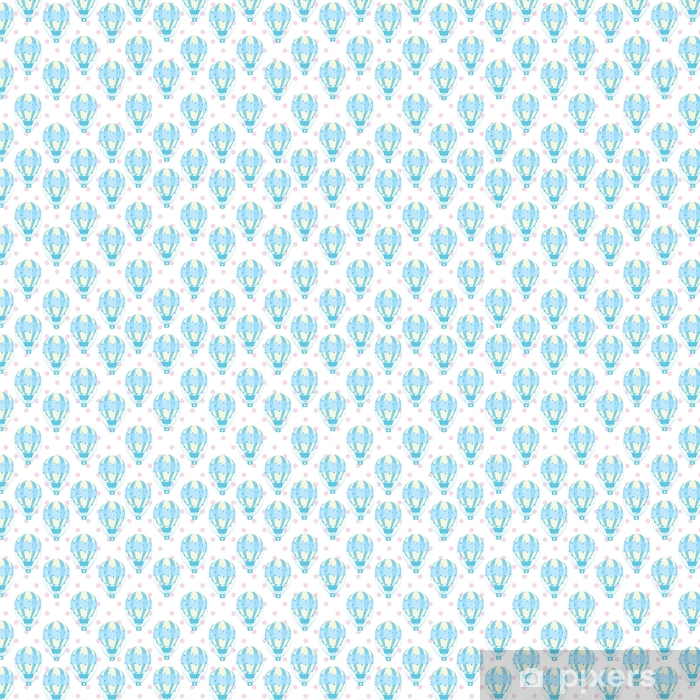 Baby shower seamless pattern with cute blue hot air balloon on polka dot background suitable for baby shower wallpaper, fabric, and scrap paper Vinyl custom-made wallpaper - Lifestyle