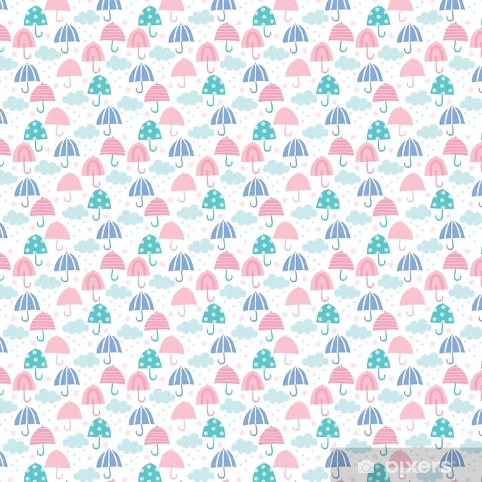Zelfklevend behang, op maat gemaakt Naadloze paraplu en wolken patroon vectorillustratie - Grafische Bronnen