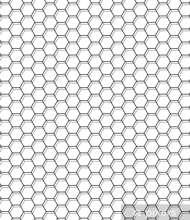 Vinylová tapeta na míru Bezešvé vzor s šestiúhelníky. černé a bílé geometrické pozadí. - Grafika