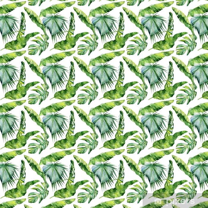Tapeta na wymiar winylowa Bezszwowych akwareli ilustracji tropikalnych liści, gęste dżungli. Wzór z motywem lato tropików może być używany jako tekstura tła, papier pakowy, tekstylia, projekt tapety. - Rośliny i kwiaty