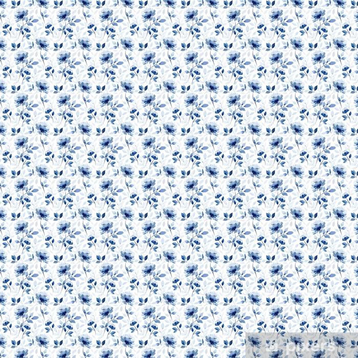 Papel pintado estándar a medida Patrón con flor azul rosa - Plantas y flores