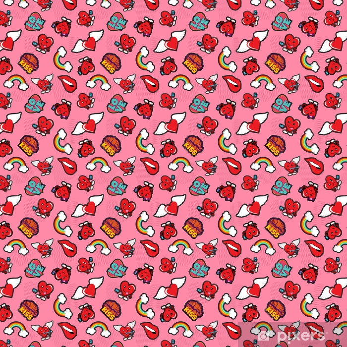 Valentines Day Social Love Emoji Patch Background Wallpaper Vinyl Custom Made