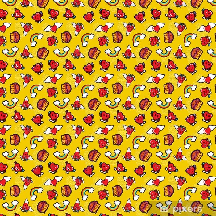 Tapete Valentinstag Liebe Emoji Patch Nahtlose Muster Pixers