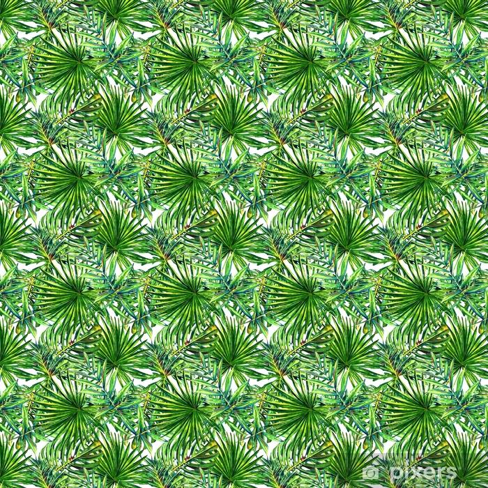 Papel de parede em vinil à sua medida Padrão floral sem costura com folhas de palmeiras tropicais de aquarela. Folhagem da selva no fundo branco. design têxtil. - Recursos Gráficos