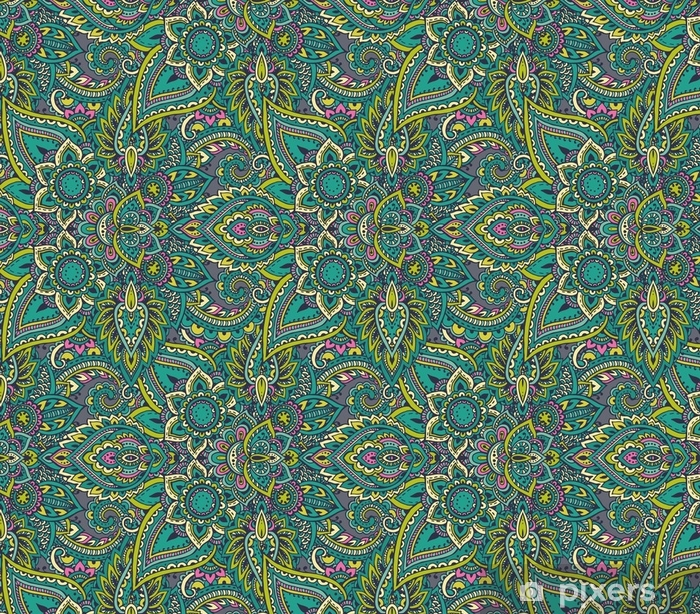 Vector Seamless Pattern With Henna Mehndi Floral Elements Wallpaper