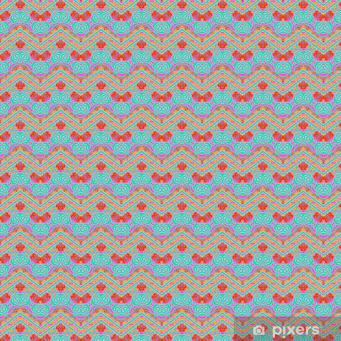 Patrón multicolor con líneas ornamentales en zigzag