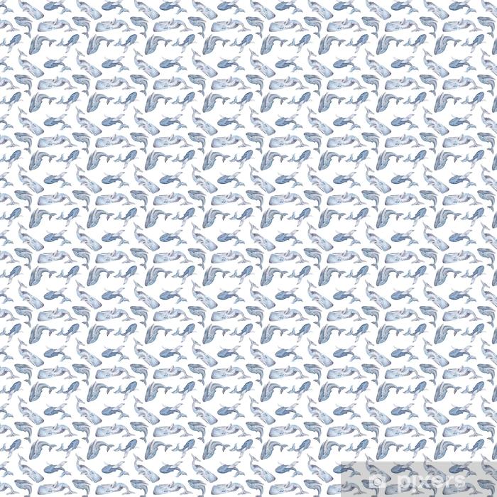 Özel Boyutlu Vinil Duvar Kağıdı Suluboya balinaları ile kesintisiz doku - Hayvanlar