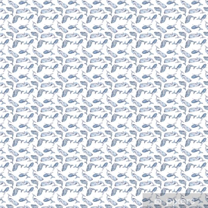 Tapeta na wymiar winylowa Bezszwowych tekstur z akwarela wielorybów - Zwierzęta