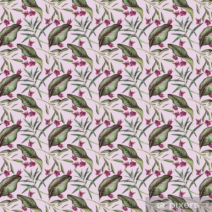 Tapeta na wymiar winylowa Jednolite wzór tropikalny kwiat, akwarela. - Rośliny i kwiaty