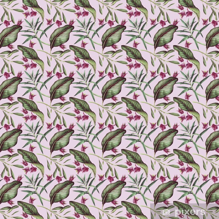 Seamless tropical flower pattern, watercolor. Vinyl custom-made wallpaper - Plants and Flowers
