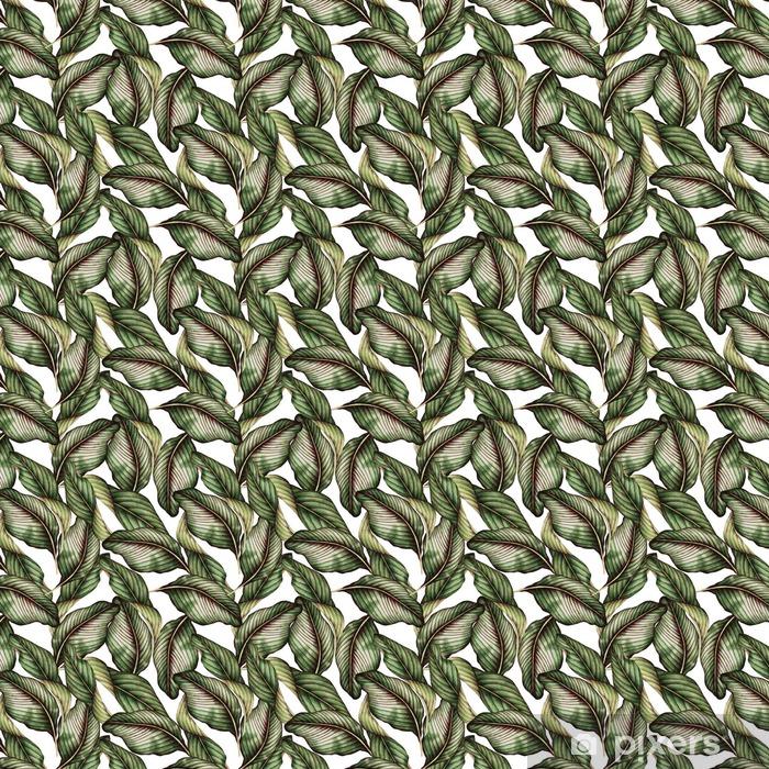Tapeta na wymiar winylowa Jednolite kwiatowy wzór z tropikalnych liści, akwarela. - Rośliny i kwiaty