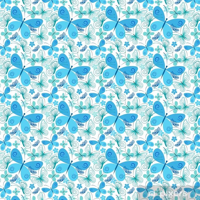 Carta da parati in vinile su misura Farfalla blu e turchese - Ambiente