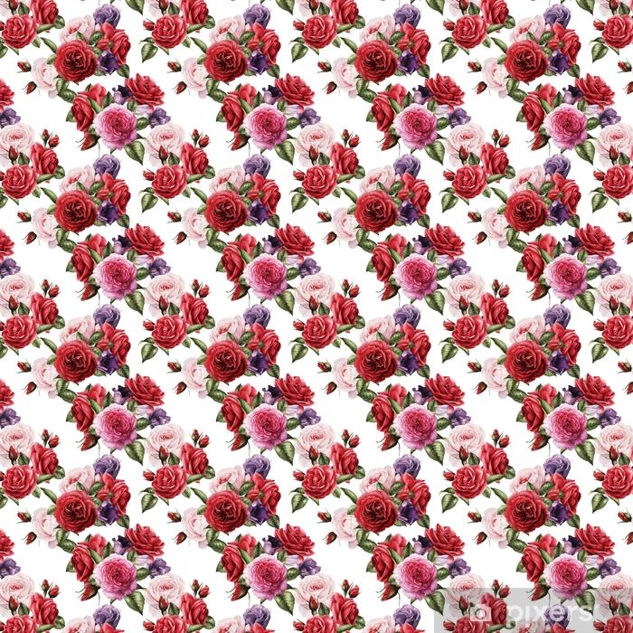 Vinylová tapeta na míru Bezešvé květinové vzory s růží, akvarel. - Rostliny a květiny