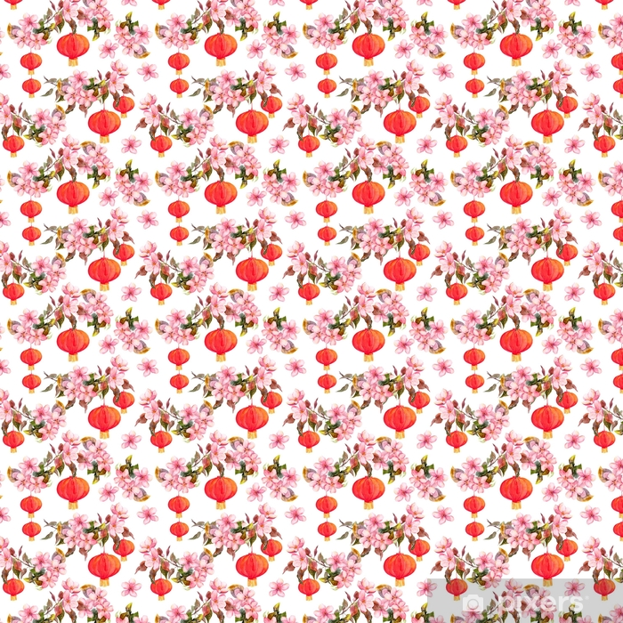 Traditional red chinese lantern in spring pink flowers - apple, plum, cherry, sakura. Seamless pattern. Watercolor Self-adhesive custom-made wallpaper - Plants and Flowers