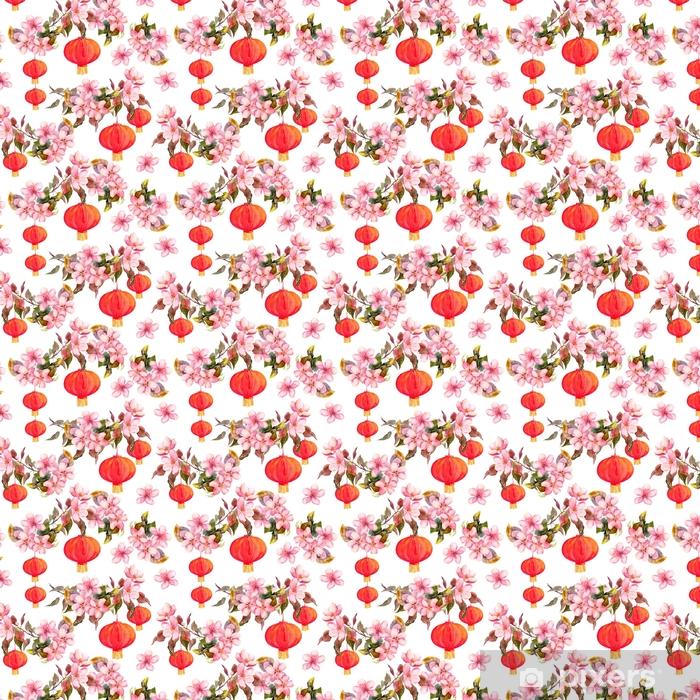 Traditionele rode chinese lantaarn in de lente roze bloemen - appel, pruim, kers, sakura. naadloos patroon. waterverf