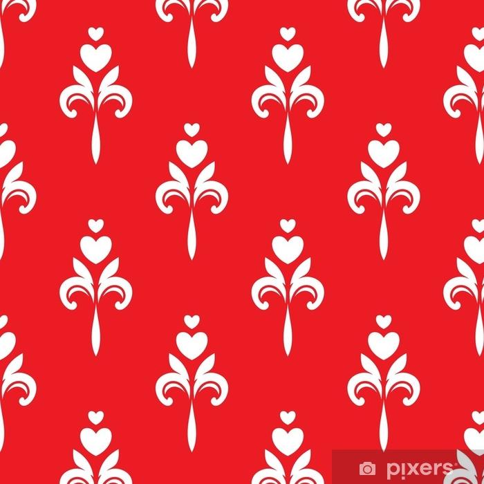 Vinylová Tapeta Bílé srdce ozdoby na červeném pozadí - Grafika