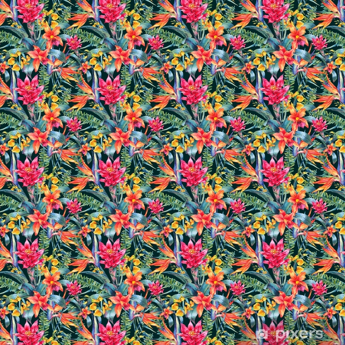 Watercolor vintage floral tropical seamless pattern Vinyl custom-made wallpaper - Plants and Flowers