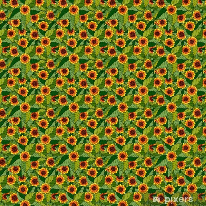 Kolorowy wzór z słoneczniki i liście w stylu Cyganka.