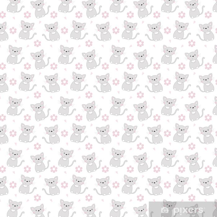 Słodkie koty kolorowe bezszwowe tło wzór