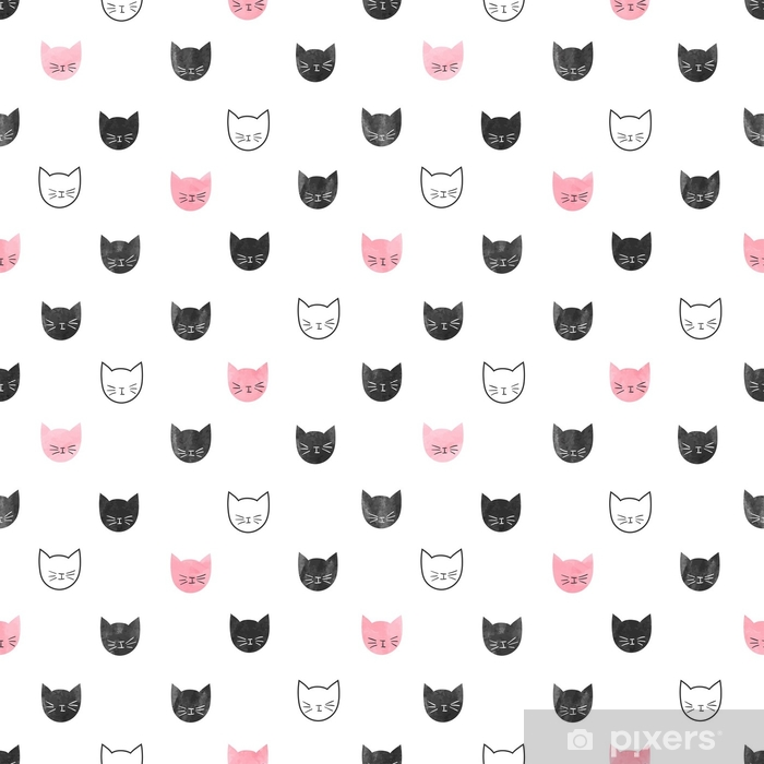 seamless cute cats pattern vector background with
