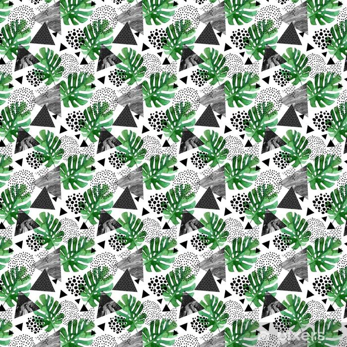 Zelfklevend behang, op maat gemaakt Aquarel tropische bladeren en getextureerde driehoeken achtergrond - Grafische Bronnen
