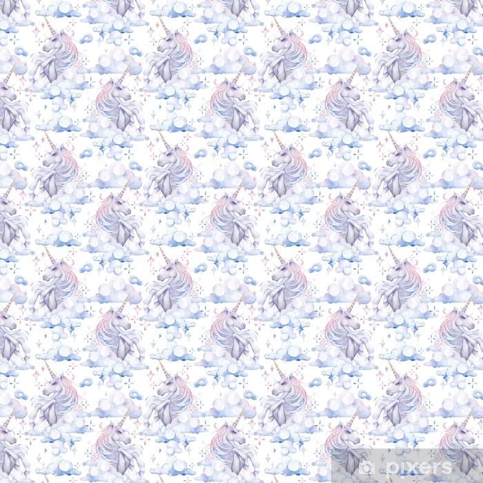 Carta da parati in vinile su misura Carino unicorno acquerello - Animali