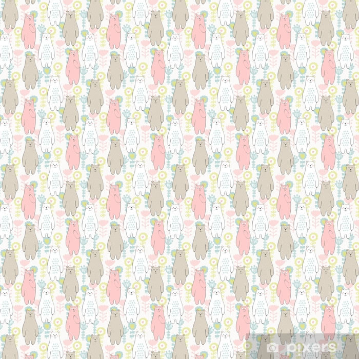 Vector seamless pattern with bear and flowers Self-adhesive custom-made wallpaper - Animals
