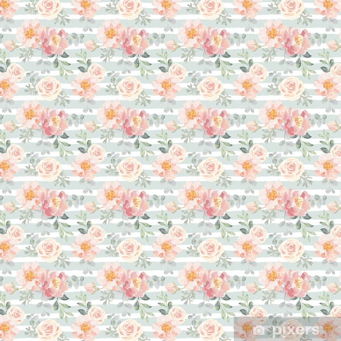 Pale pink roses and peonies with gray leaves on the striped background. Vector seamless pattern. Romantic garden flowers illustration. Faded colors. Vinyl custom-made wallpaper - Plants and Flowers