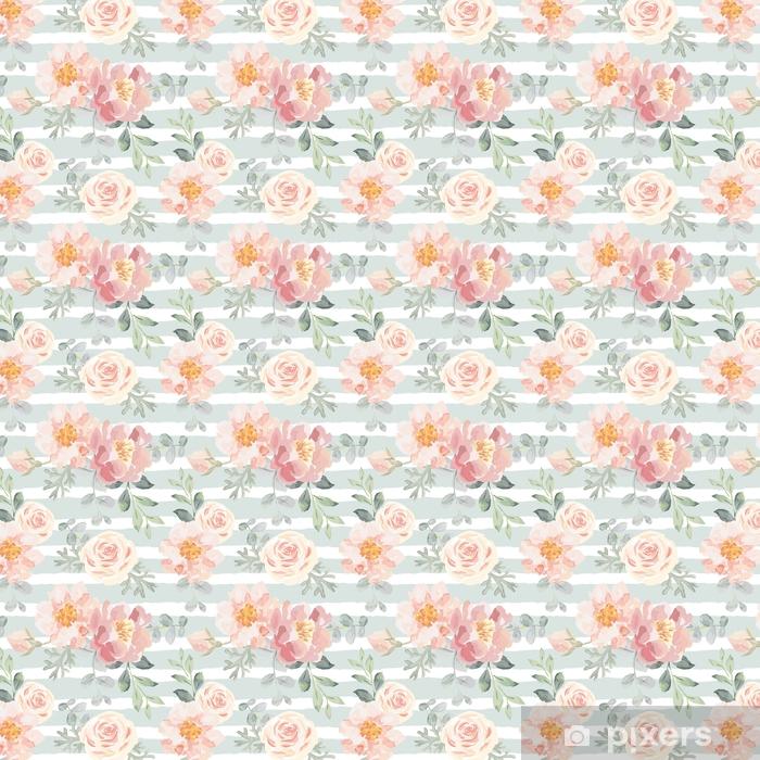 Zelfklevend behang, op maat gemaakt Lichtroze rozen en pioenrozen met grijze bladeren op de gestreepte achtergrond. vector naadloze patroon. romantische tuin bloemen illustratie. vervaagde kleuren. - Bloemen en Planten