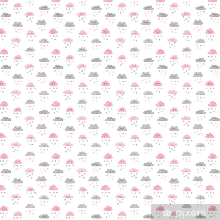 Wzór z akwarela chmury i deszcz serc. ilustracji wektorowych.