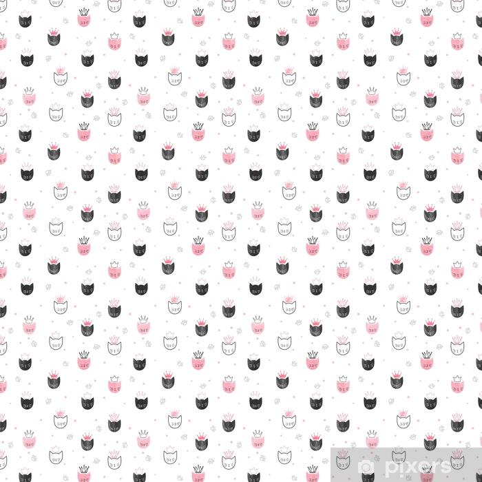 Tapeta na wymiar winylowa Bez szwu wzór koty księżniczki. wektor tle akwarela dla dzieci projektowania. - Zwierzęta