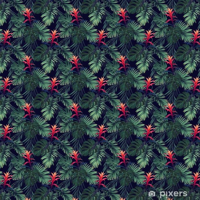 Käsin piirretty saumaton kukka kuvio guzmania kukkia, monstera ja kuninkaallinen palmu lehdet. eksoottinen hawaiian vektori tausta. Räätälöity vinyylitapetti - Kasvit Ja Kukat
