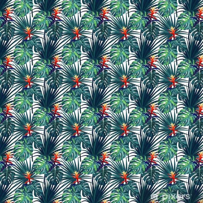 Tapeta na wymiar winylowa Egzotyczne tropikalny tło z hawajskich roślin i kwiatów. bezszwowe wektor wzór z zielonych liści monstera i sabal, guzmania kwiaty. - Rośliny i kwiaty
