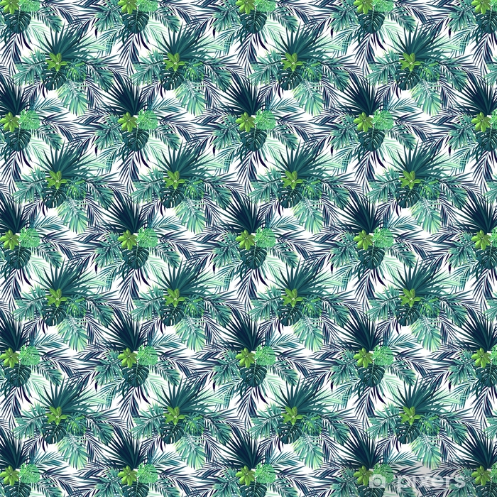 Seamless hand drawn botanical exotic vector pattern with green palm leaves. Vinyl custom-made wallpaper - Graphic Resources