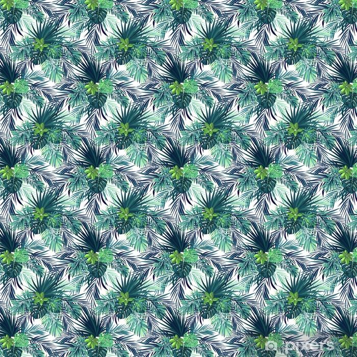 Zelfklevend behang, op maat gemaakt Naadloze hand getekend botanische exotische vector patroon met groene palmbladeren. - Grafische Bronnen