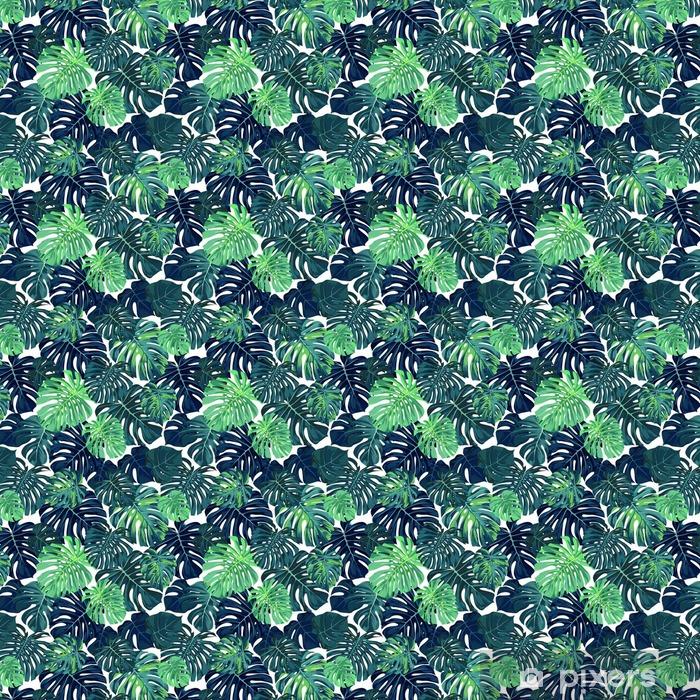 Zelfklevend behang, op maat gemaakt Green vector patroon met monstera palmbladeren op een donkere achtergrond. Naadloze zomer tropische stof design. - Grafische Bronnen