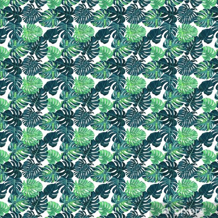 Vektori saumaton malli vihreällä monstera palmu lehdet tummalla pohjalla. kesän trooppinen kangas. Räätälöity itsestäänkiinnittyvä tapetti - Graafiset Resurssit