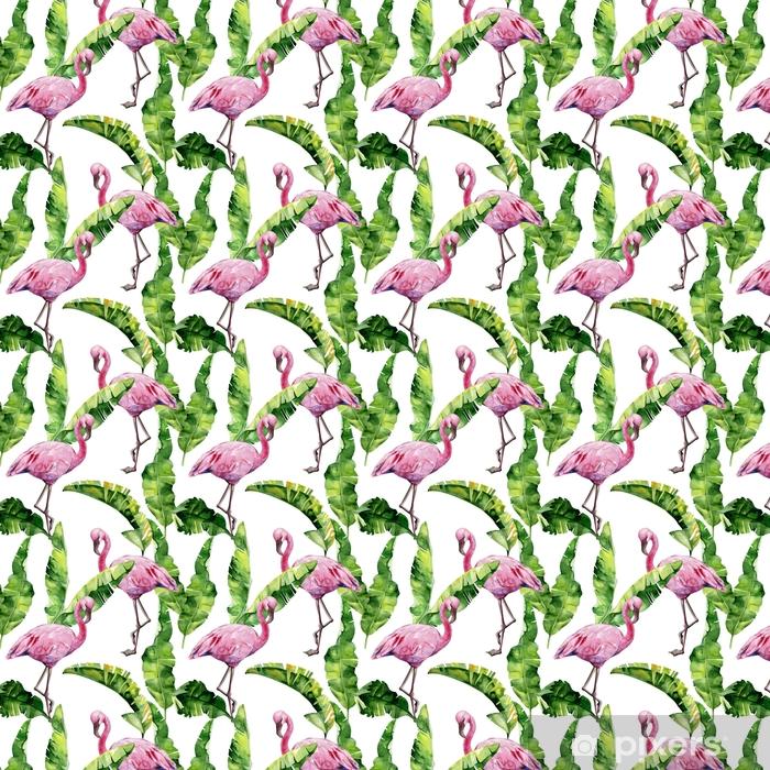 Tapeta na wymiar winylowa Tropikalne liście, gęsta dżungla. palma bananowca pozostawia bez szwu akwarela ilustracja tropikalnych różowych ptaków flamingo. modny wzór z motywem tropic summertime. egzotyczne tło sztuki Hawajów. - Zasoby graficzne