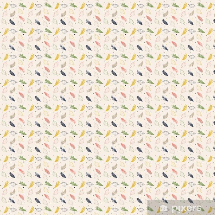 Vinyl behang, op maat gemaakt Vector bloemmotief met venkel of dille bloemen, varens bladeren en confetti. dunne gevoelige lijn planten silhouetten en kleine puntjes in pastel kleuren op beige achtergrond - Bloemen en Planten