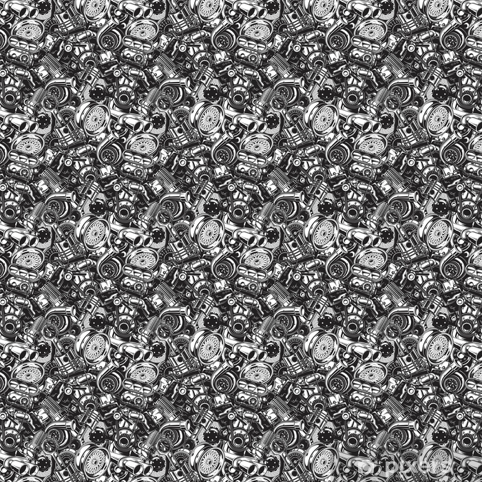 Automobile car parts seamless pattern with monochrome black and white elements background. Vinyl custom-made wallpaper - Transport