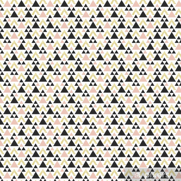 Gold geometric triangle background. Abstract seamless pattern with triangles in gold and dark gray. Vinyl custom-made wallpaper - Graphic Resources