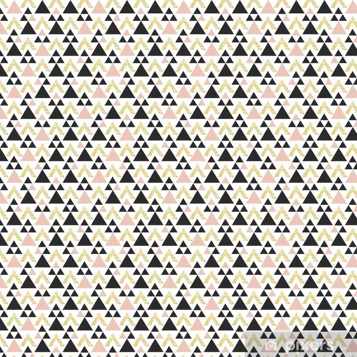 Zelfklevend behang, op maat gemaakt Gold geometrische driehoek achtergrond. Abstract naadloos patroon met driehoeken in goud en donkergrijs. - Grafische Bronnen