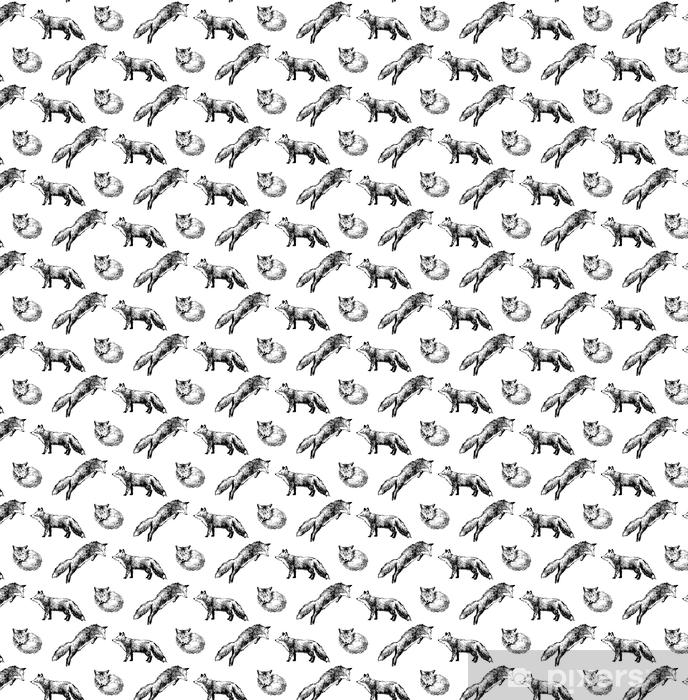 Papier peint vinyle sur mesure Modèle sans couture avec renards dessinés à la main - Animaux