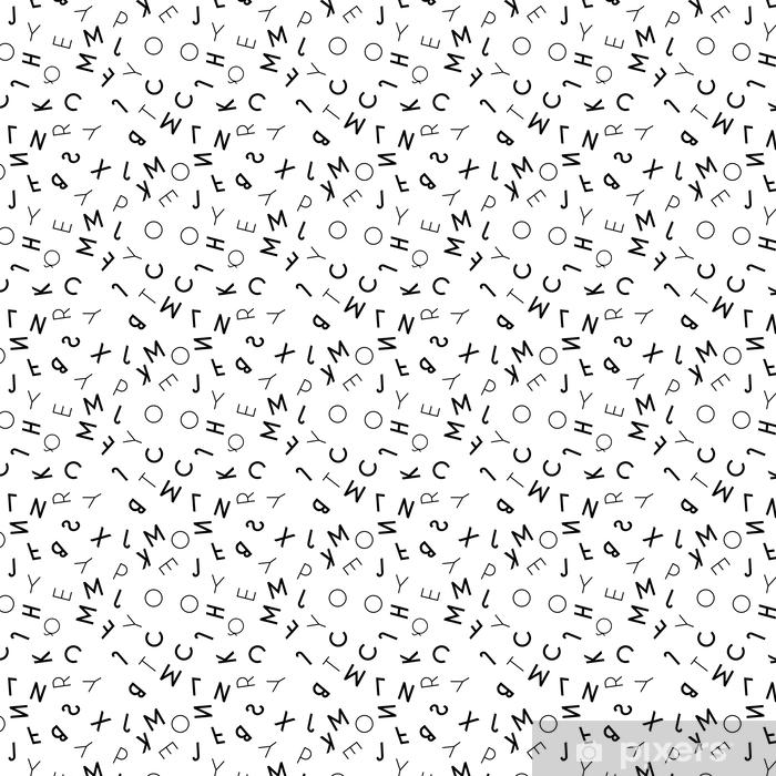 Black Letter Seamless Pattern On White Background Wallpaper Vinyl Custom Made