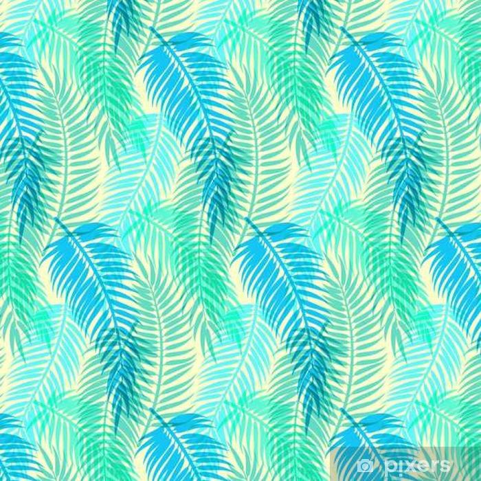 Eksoottisia trooppisia palmulehtiä. saumaton abstrakti vektori kuvio Itsestäänkiinnittyvä tapetti - Graafiset Resurssit