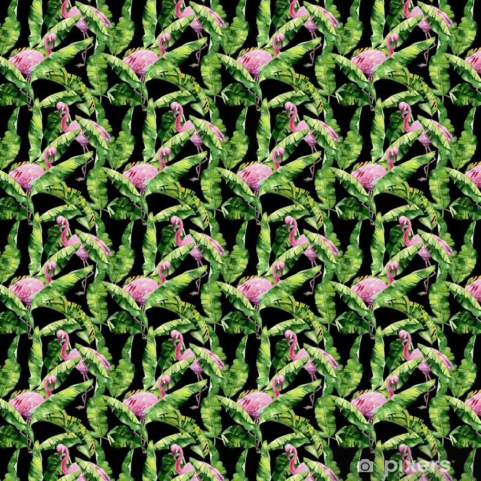Tapeta na wymiar winylowa Tropikalne liście, gęsta dżungla. palma bananowca pozostawia bez szwu akwarela ilustracja tropikalnych różowych ptaków flamingo. modny wzór z motywem tropic summertime. egzotyczne tło sztuki Hawajów. - Zwierzęta