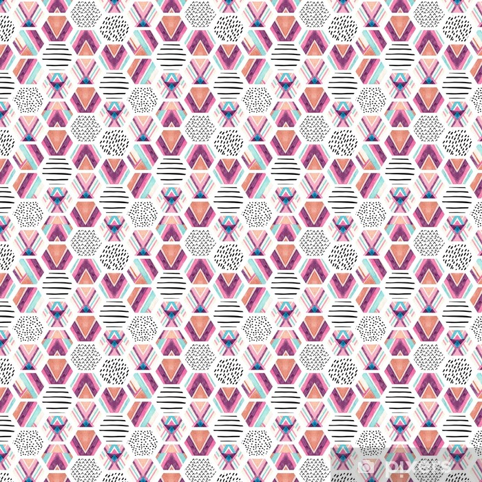 Watercolor hexagon seamless pattern with geometric ornamental elements Self-adhesive custom-made wallpaper - Graphic Resources